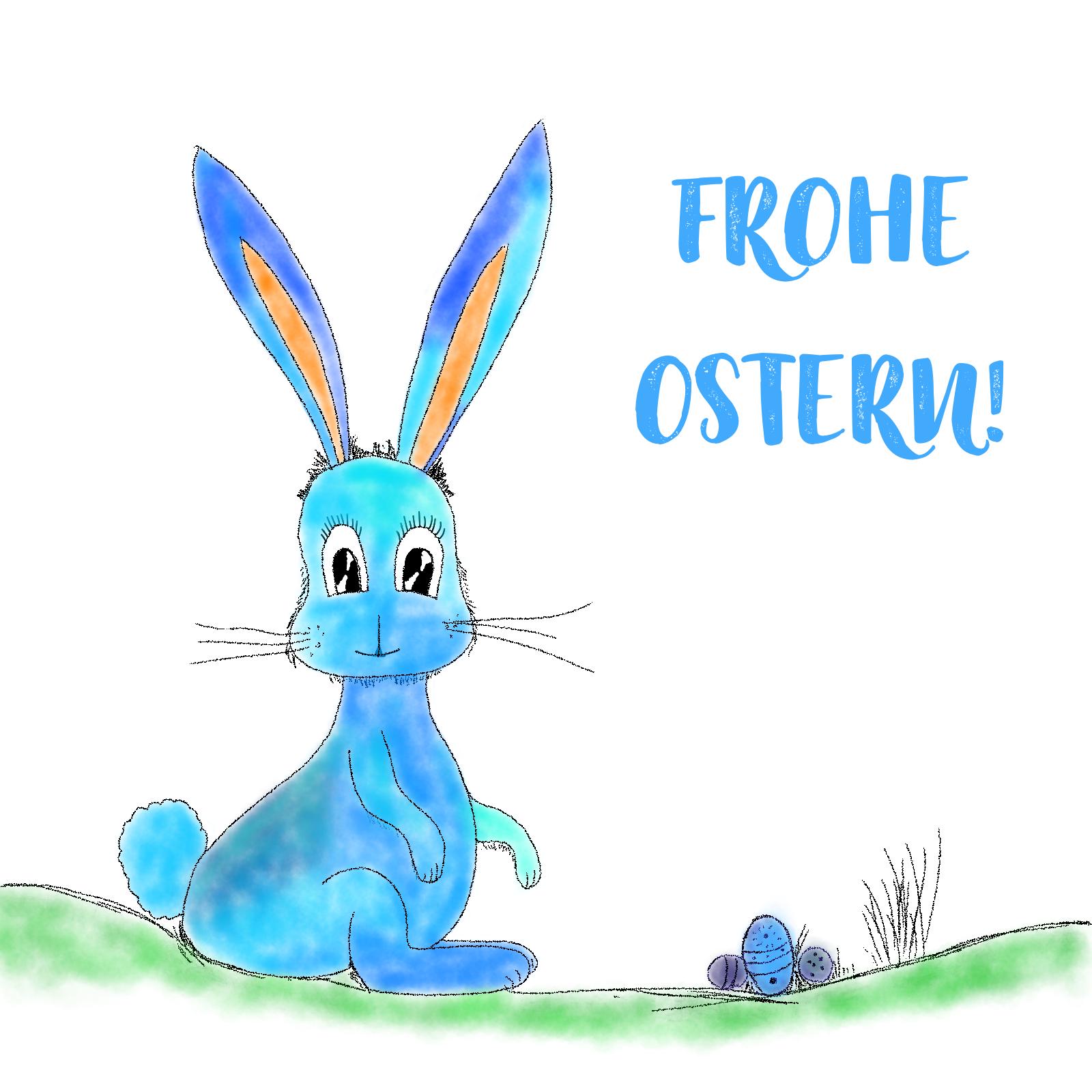Osterhase auf Wiese mit Eiern - Frohe Ostern!
